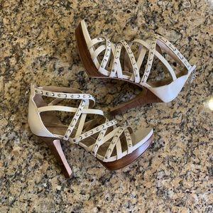 Via Spiga Italian Leather Cream Strap/Zip Heels 7